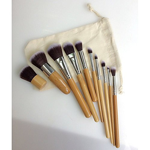 AENMIL 10 Carbonized Bamboo Makeup Brush with Bristles Long Round Head Handle Grip Rayon Cosmetic Tools - Yellow by Fashion Class