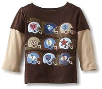Watch Me Grow! by Sesame Street Baby-boys Infant Football Helmet Mock Twofer Shirt, Brown, 24 Months