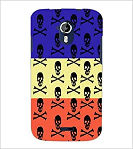 PrintDhaba Skull D-5757 Back Case Cover for MICROMAX A116 CANVAS HD (Multi-Coloured)