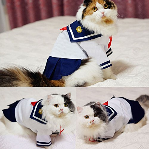 Bro'Bear Pet Navy Uniform Cats & Small Dogs Sailor Dress with Red Bowknot (X-Large)