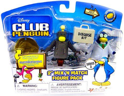 Picture of Jakks Pacific Disney Club Penguin Series 2 Mix 'N Match Mini Figure Pack Gary the Gadget Guy with Robot(Includes Coin with Code!) (B001VH5HUO) (Jakks Pacific Action Figures)