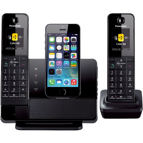 Panasonic Dect 6.0 Plus Link2Cell Iphone 5 Lightning Dock Style Cordless Telephone, 2 Handsets With Bluetooth Streaming Technology, Usb Charging Port, Talking Caller Id, Talking Text Message Alert, Smartphone Phonebook Accessible On Cordless Handset Via B