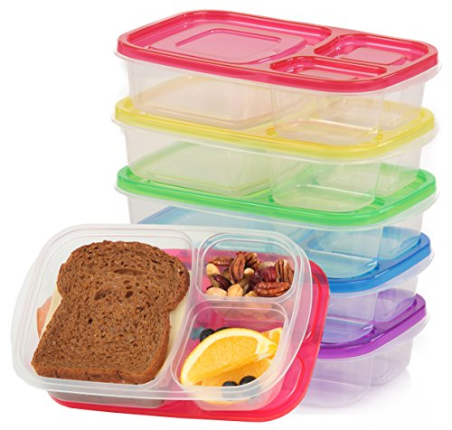 bento lunch box food storage containers for kids and adults 5 containers 3 compartments very. Black Bedroom Furniture Sets. Home Design Ideas