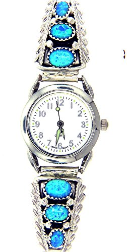 By Navajo Artist:Robert Brown Navajo Women's Created Opal watch Bracelet