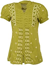 ALMAS Lucknow Chikan Women's Cotton Regular Fit Kurti (Green and Cream)
