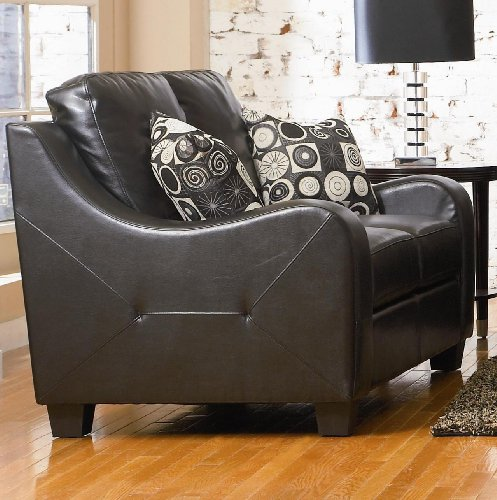 Buy Low Price AtHomeMart Black Contemporary Leather Loveseat (COAS502272)