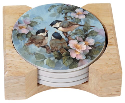 CounterArt Chickadees Design Round Absorbent Coasters in Wooden Holder, Set of 4