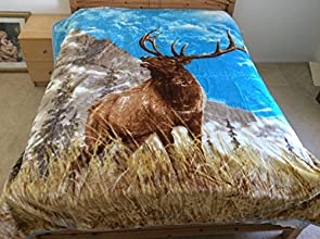 Elk On Mountain Top Animal Print Wild Life Mink Style Queen Size Soft amp Warm Blanket