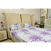 Sassoon Coordinated Collection Contemporary Cotton Double Bedsheet With Pillow Cover - Lavender
