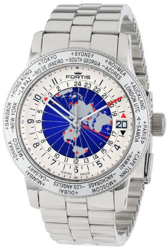 Fortis Men's 674.20.15 M B-47 Worldtimer GMT Swiss Automatic Bidirectional Bezel Stainless Steel Bracelet GMT Date Watch