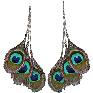 Peacock Feather Eyes Earrings In Green With Blue Finish