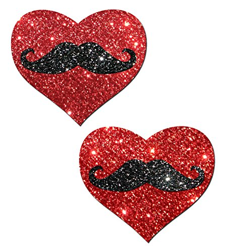 Glittering Red Heart & Black Glittering Mustache Nipple Pasties By Pastease O/S