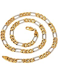 """The Jewelbox Mens Stainless Steel Gold Etched Figaro Curb Rhodium Chain 19"""""""