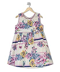 Budding Bees Girls Off White Floral A-Line Dress