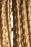 Antique Gold Satin faux silk diamond puckered lined rod pocket window drape curtain panel