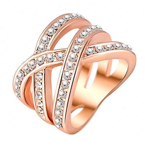 Ri06011c1 8 Quot Bundling Love Quot Austrian Crystal 18k Ring
