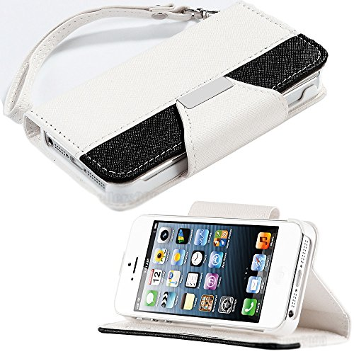 Mylife (Tm) White And Black Classic Fashion Design - Textured Koskin Faux Leather (Card And Id Holder + Magnetic Detachable Closing) Slim Wallet For Iphone 5/5S (5G) 5Th Generation Itouch Smartphone By Apple (External Rugged Synthetic Leather With Magneti