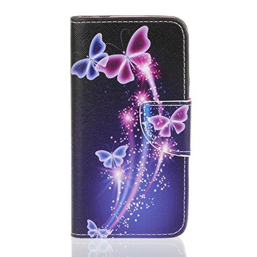 Coque pour iPhone 7, Etui pour iPhone 7 - Cozy Hut Peinture Style PU Cuir Flip Magnétique Portefeuille Etui Housse [papillon] Coque en Cuir