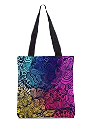 Snoogg Vector Seamless Texture With Abstract Flowers Endless Background Ethnic Sea Designer Poly Canvas Tote Bag - B012FZULMO