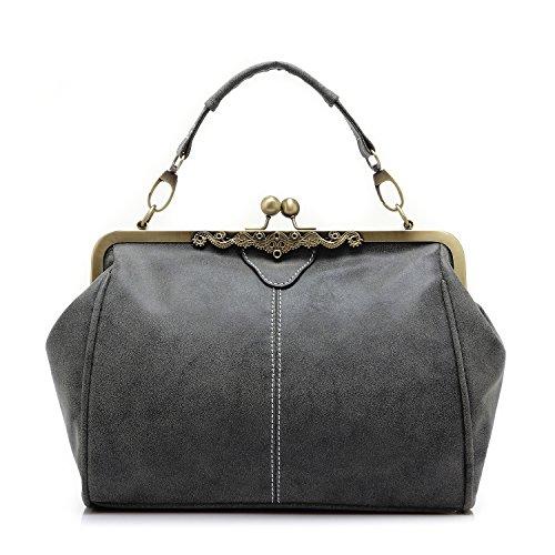 Realer Vintage Ladies Designer Cross Over Shoulder Bag Purses and Handbags for Women Gray (Vintage Sale compare prices)