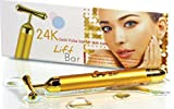 Premium 24k Lift Bar Facial Massager w/ Hematite Healing Stone, 24k Beauty Bar, Skin Tightening, V-Face, FREE Pouch & Battery,Face Firming, Anti Wrinkles, Guaranteed Results! Magnifies Results of Vitamin C Serum, Bio Oil and Other Anti Aging Products