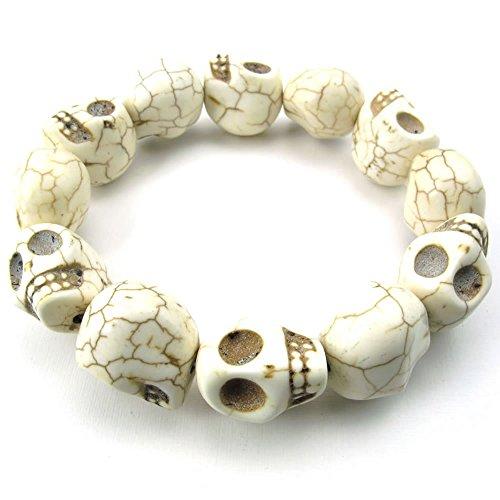 KONOV Jewelry Mens Howlite Turquoise Bracelet, Tibetan Beaded Skull, White