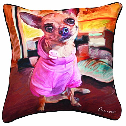 Manual Chihuahua Bella Paws and Whiskers Decorative Square Pillow, 18-Inch