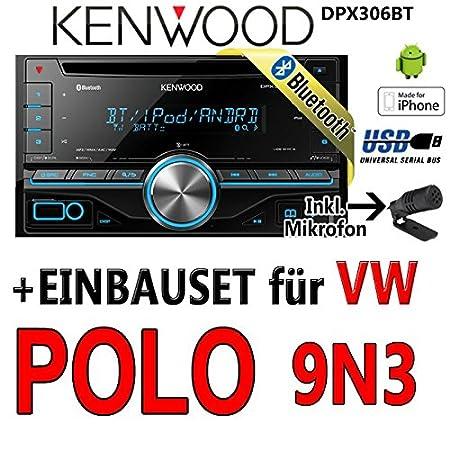 Volkswagen polo 9N3 kenwood dPX306BT 2-dIN bluetooth uSB avec kit de montage