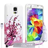 Yousave Accessories Floral Bee Silicone Gel Cover with Mini Stylus Pen and Car Charger for Samsung Galaxy S5