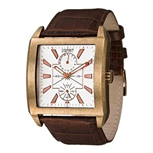 Esprit Herren-Armbanduhr Global Player Brown Analog Leder ES101591005
