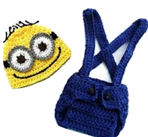 CX-Queen Baby Photography Prop Crochet Despicable Me Minion Beanie Hat Overalls (Minion Baby Shower compare prices)