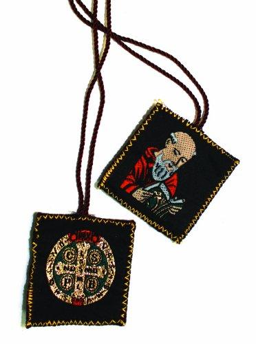 Scapular - Embroidered Cloth - Saint Benedict - Cross - Brown
