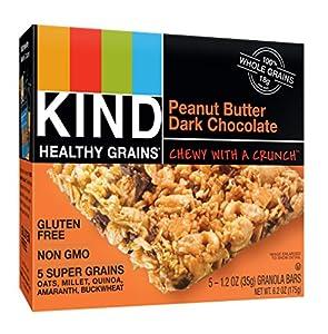 KIND Healthy Grains Granola Bars, Peanut Butter Dark Chocolate, Gluten Free, 1.2 oz Bars, 5 Count