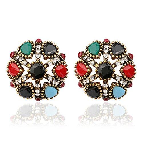 [Lemonstraw Colorful gems folk style earrings pierced disc flower shaped diamond earrings] (India National Costume For Male Kids)