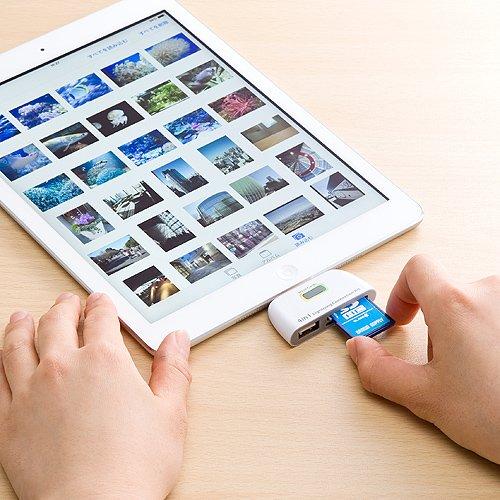 iPadで使えるLightning対応SDカード&microSDカードリーダ(400-ADRIP07)