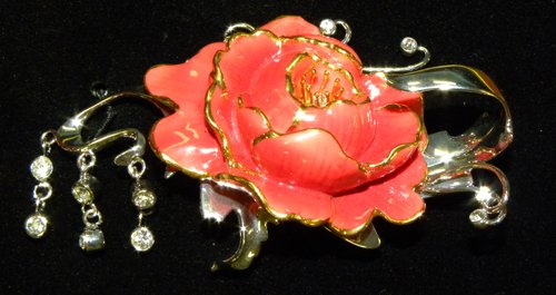 Franz Porcelain Peony Rhodium plated brass & porcelain pin