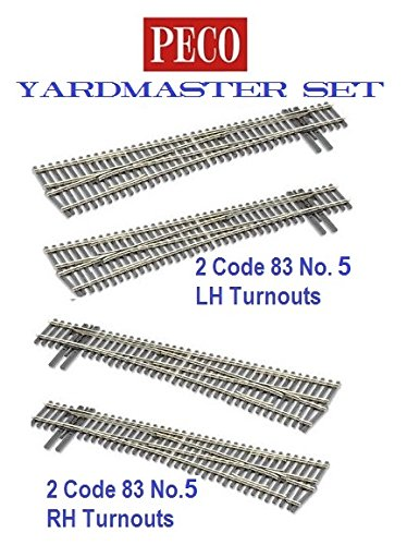 Peco HO-scale Code 83 Insulfrog Yardmaster Set of 4 turnouts, (2) #5 Left-Hand Turnouts and (2) #5 Right-Hand Turnouts, DCC Friendly