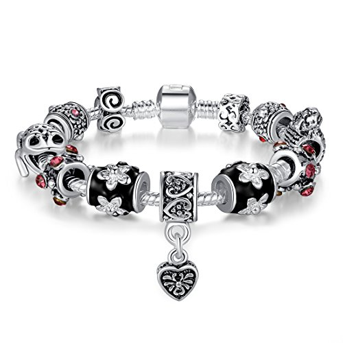 Bamoer Christmas Bracelets Promotion!! (Buy One Bangle Get One Free Total 2) Fashion Lover Bracelets Unisex Men Women Tibetan Silver Heart Skull Handbag Pendant Beads Bracelets Drop Dangle Bangles Sisters Diy Christmas Jewelry Gift (21Cm)