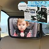 Topist ベビービューミラー  車用 後部座席の赤ちゃんの 確認やメイク直し用として便利な ミラー (サイズ:290×190mm) 角度 方向調節可能 振動防止