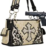 Beige Studded Cross Conceal and Carry Purse