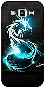 The Racoon Grip printed designer hard back mobile phone case cover for Samsung Galaxy E5. (Blue Drago)