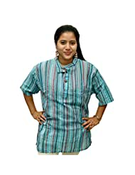 Odishabazaar Women's Blue Cotton Stripe Short Kurti
