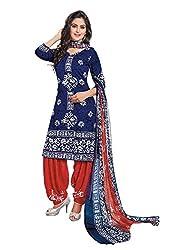 RK Fashion Womens Chiffon Un-Stitched Salwar Suit Dupatta Material ( Rajguru-Rimzim-9036-Blue-Free Size )