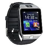 Bluetooth 3.0 Reloj Inteligente con Cámara, TF / tarjeta SIM Ranura con Podómetro Función Anti-perdida para Samsung, HTC, LG, Sony, Huawei teléfonos inteligentes Android y iOS (función parcial) (plata)