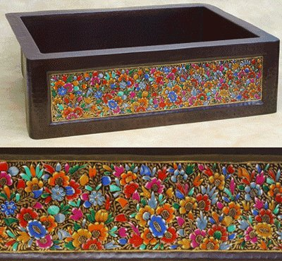 FHA33HPF inch Hammermarc Copper Kitchen Sink Designer Front-Hand Painted Floral
