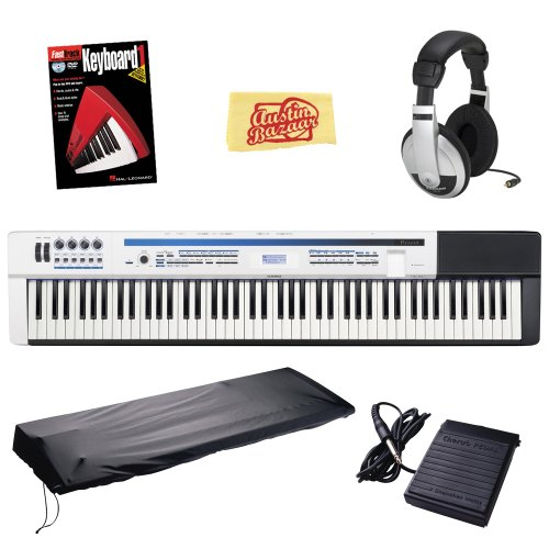 Casio Privia Pro Px-5S 88-Key Digital Stage Piano Bundle With Dust Cover, Sustain Pedal, Headphones, Instructional Book, And Polishing Cloth