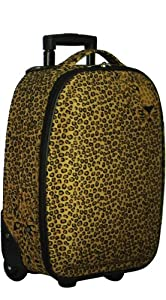 "5 Cities Lightweight Cabin Approved Hard Wearing and Light Weight Trolley Wheeled Luggage Bag (18 inch fits 50 x 40 x 20 & 21 inch 55 x 40 x20) (18"", Leopard Face)"