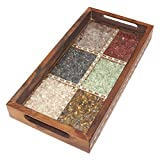 R S Jewels Wooden Handicrafts Serving Tray Real Gemstone Pack Of 5 Pcs.