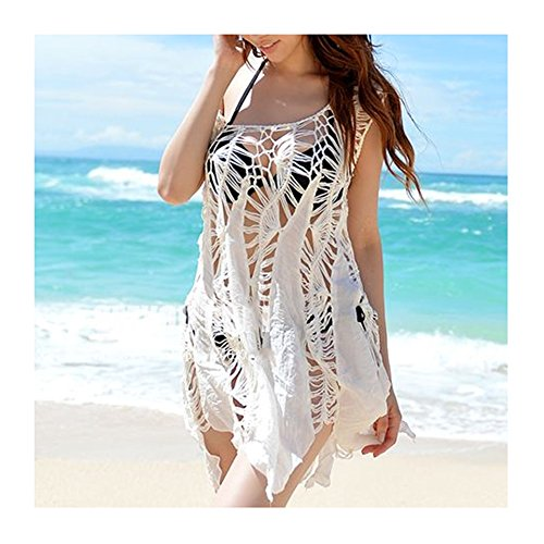 8c9e0b39a67a1 MG Collection White Boho Chic Crochet Swimsuit Cover Up / Sleeveless Beach  Top
