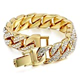 Mens Womens Cuban Link Bracelet Hip Hop Bracelet Stainless Steel Chain Bracelet Iced Out Curb Cuban 18k Gold Plated Bracelet with Clear Rhinestones (A-Gold) (Color: A-Gold)